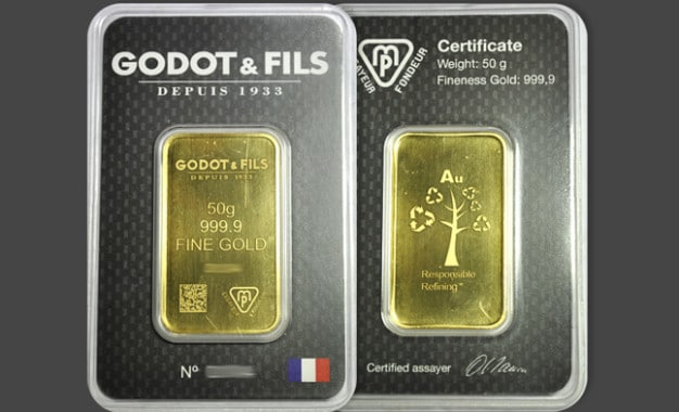 Lingot d'or 50 grammes
