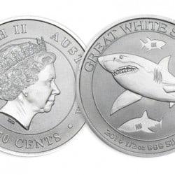 Exclu Achat Or et Argent : 1/2 once Requin Blanc Argent
