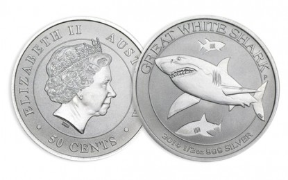 Exclu Achat Or et Argent : 1/2 once Requin Blanc Argent